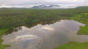 εναέρια όψη Πέταγμα πέρα από τη λίμνη στο copter Η λίμνη που απεικονίζει το δάσος και τα σύννεφα απόθεμα βίντεο