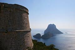 εναέρια όψη της Ισπανίας vedra βράχου νησιών ibiza ES Στοκ φωτογραφία με δικαίωμα ελεύθερης χρήσης