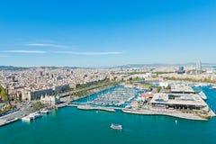 Εναέρια όψη της λιμενικής περιοχής στη Βαρκελώνη Στοκ φωτογραφία με δικαίωμα ελεύθερης χρήσης