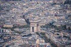 Εναέρια όψη του τόξου de Triomphe στο Παρίσι Στοκ Εικόνα