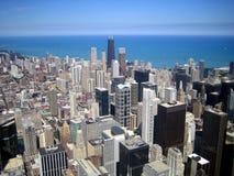 Εναέρια όψη των ουρανοξυστών στην πόλη του Σικάγου, Ιλλινόις, ΗΠΑ Στοκ Φωτογραφία