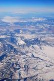 εναέρια όψη χιονιού βουνών Στοκ Εικόνες