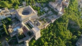 εναέρια όψη alhambra Γρανάδα παλάτι Ισπανία Flyover μια όμορφη θερινή ημέρα φιλμ μικρού μήκους
