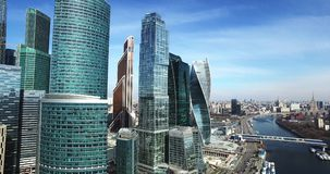 Εναέριες εικονικές παραστάσεις πόλης πυροβολισμού πόλεων της Μόσχας απόθεμα βίντεο