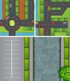 Εναέριες σκηνές των αυτοκινήτων στους δρόμους και carpark διανυσματική απεικόνιση