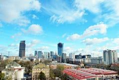 Εναέριοι στο κέντρο της πόλης επιχειρησιακοί ουρανοξύστες άποψης, κέντρο πόλεων Στοκ Φωτογραφία