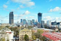 Εναέριοι στο κέντρο της πόλης επιχειρησιακοί ουρανοξύστες άποψης, κέντρο πόλεων Στοκ Εικόνες