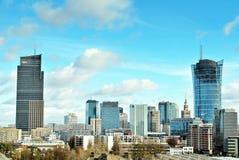 Εναέριοι στο κέντρο της πόλης επιχειρησιακοί ουρανοξύστες άποψης, κέντρο πόλεων Στοκ Εικόνα