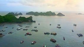 Εναέριος ήρεμος ωκεάνιος κόλπος άποψης μεταξύ των λοφωδών πράσινων νησιών απόθεμα βίντεο