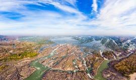 Εναέριος πανοραμικός ποταμός Μεκόνγκ 4000 νησιών στο Λάος, Phi λι καταρράκτες, διάσημος προορισμός ταξιδιού backpacker στη Νοτιοα στοκ εικόνα