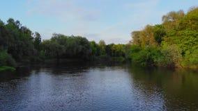 Εναέριος - πετώντας χαμηλά επάνω από τον τυρκουάζ ποταμό χρώματος που χαράζει τον τρόπο του μέσω της κοιλάδας άνοιξη απόθεμα βίντεο
