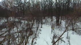 Εναέριος πυροβολισμός του αθλητικού τύπου στο κίτρινο παλτό που μειώνει το λόφο στο χειμερινό δάσος απόθεμα βίντεο