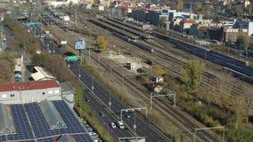 Εναέριος πυροβολισμός του κύριου σταθμού της Πράγας απόθεμα βίντεο