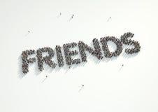 Εναέριος πυροβολισμός ενός πλήθους των ανθρώπων που διαμορφώνει τη λέξη «φίλοι» con Στοκ εικόνα με δικαίωμα ελεύθερης χρήσης