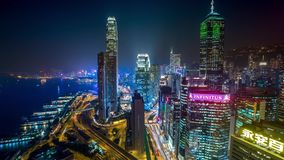 Εναέριος φωτισμός νύχτας Χονγκ Κονγκ απόθεμα βίντεο