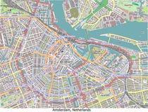 Εναέριος χάρτης άποψης του Άμστερνταμ Κάτω Χώρες γεια RES Στοκ Εικόνες