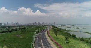 Εναέριος - όμορφο hefei στην Κίνα απόθεμα βίντεο