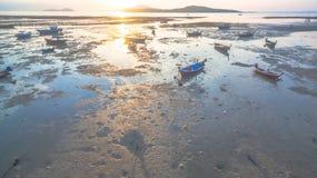 Εναέριο αλιευτικό σκάφος άποψης στην ανατολή Στοκ Φωτογραφίες