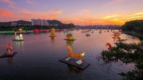 Εναέριο βίντεο του φεστιβάλ φαναριών Jinju, Νότια Κορέα απόθεμα βίντεο