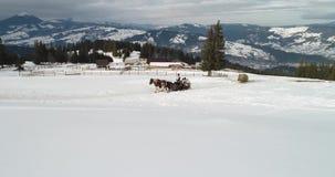 Εναέριο μήκος σε πόδηα άποψης Bucovina σε Vatra Dornei στο χειμώνα, Ρουμανία απόθεμα βίντεο