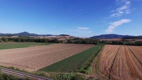 Εναέριο μήκος σε πόδηα κηφήνων - που πετά πέρα από τους τομείς στην Ιταλία απόθεμα βίντεο