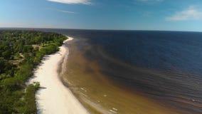Εναέριο πέταγμα πέρα από την όμορφη άσπρη παραλία άμμου παραδείσου στη Λετονία και το Κόλπο της θάλασσας της Βαλτικής απόθεμα βίντεο