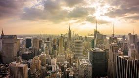 Εναέριο πανόραμα άποψης πόλεων της Νέας Υόρκης φιλμ μικρού μήκους
