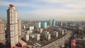 Εναέριο πανόραμα πόλεων της Μόσχας απόθεμα βίντεο