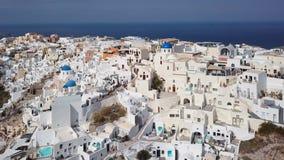 Εναέριο πανόραμα Oia της πόλης, Santorini απόθεμα βίντεο
