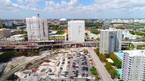 Εναέριο τηλεοπτικό στο κέντρο της πόλης Μαϊάμι Φλώριδα απόθεμα βίντεο