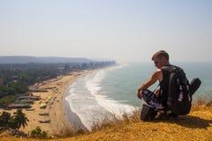 Εναέριο τοπίο άποψης παραλιών Arambol, Goa, Ινδία Στοκ Φωτογραφίες
