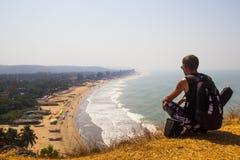 Εναέριο τοπίο άποψης παραλιών Arambol, Goa, Ινδία Στοκ εικόνα με δικαίωμα ελεύθερης χρήσης