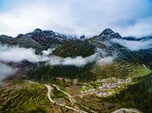 Εναέριο τοπίο άποψης Zhagana σε Gannan, κινεζικό Gansu στοκ φωτογραφία