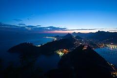 Εναέριο τοπίο του Ρίο ντε Τζανέιρο στο ηλιοβασίλεμα, Βραζιλία Στοκ Φωτογραφία