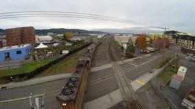Εναέριο φορτηγό τρένο του Πόρτλαντ απόθεμα βίντεο