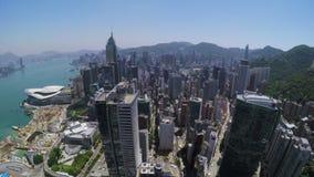 Εναέριο 4K Χονγκ Κονγκ πόλεων απόθεμα βίντεο