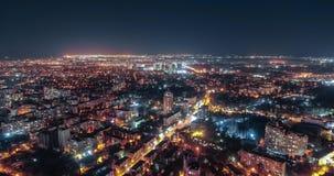 Εναέριο timelapse μιας παλαιάς πόλης κεντρικός στην Οδησσός, Ουκρανία Φω'τα και κυκλοφορία πόλεων τη νύχτα στο παλαιό μέρος της π απόθεμα βίντεο