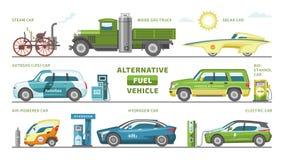 Εναλλακτικό διανυσματικό ομάδα-αυτοκίνητο οχημάτων καυσίμων ή αέριο-φορτηγό και σύνολο απεικόνισης ηλιακός-αυτοκινήτων ή autogas- ελεύθερη απεικόνιση δικαιώματος