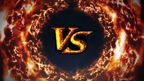 Εναντίον της ζωτικότητας πάλης ΕΝΑΝΤΙΟΝ στην πυρκαγιά σπινθήρων Πολυτέλεια Αθλητική μάχη Ζωτικότητα βρόχων CG απεικόνιση αποθεμάτων