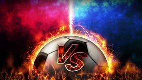 Εναντίον του υποβάθρου πάλης Εναντίον της πάλης μάχης Σφαίρα ποδοσφαίρου Ζωτικότητα βρόχων έννοιας αθλητικής μάχης ελεύθερη απεικόνιση δικαιώματος