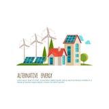 Εναλλακτική ενέργεια, αστικό τοπίο, οικολογία Στοκ Φωτογραφίες