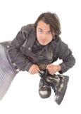 ενδύματα μποτών όμορφα το άτομο τζιν του Στοκ φωτογραφία με δικαίωμα ελεύθερης χρήσης