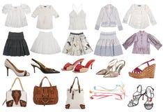 Ενδύματα μόδας συλλογής που απομονώνονται στο λευκό Στοκ Εικόνες