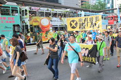 2015 ενεργά στελέχη Μάρτιος Χονγκ Κονγκ μπροστά από την ψηφοφορία για την εκλογική συσκευασία Στοκ εικόνες με δικαίωμα ελεύθερης χρήσης