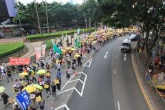 2015 ενεργά στελέχη Μάρτιος Χονγκ Κονγκ μπροστά από την ψηφοφορία για την εκλογική συσκευασία Στοκ Φωτογραφία