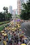 2015 ενεργά στελέχη Μάρτιος Χονγκ Κονγκ μπροστά από την ψηφοφορία για την εκλογική συσκευασία Στοκ Εικόνα