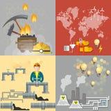 Ενεργειακή έννοια: πετρέλαιο, άνθρακας, πυρηνικοί σταθμοί διανυσματική απεικόνιση
