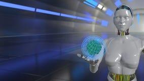 Ενεργειακή έννοια τεχνολογίας ρομπότ, τρισδιάστατη απόδοση Στοκ Εικόνες
