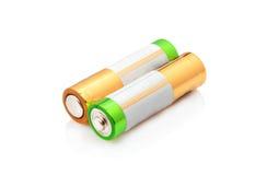 ενεργειακή ισχύς δύο μπαταριών AA Στοκ Εικόνες