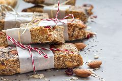 Ενεργειακοί φραγμοί Granola με τα σύκα, oatmeal, αμυγδάλων, των βακκίνιων, chia και ηλίανθων τους σπόρους, υγιές πρόχειρο φαγητό, Στοκ Εικόνες